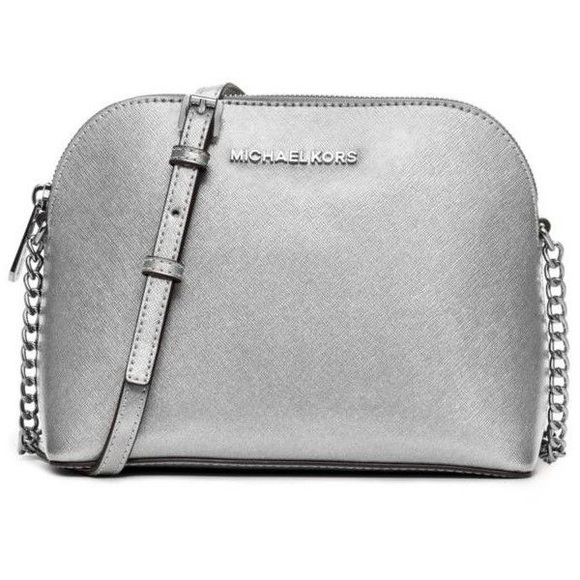 6e705909a165 Authentic MK Cindy dome silver leather crossbody